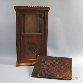 Carved and Red-painted Game Board and Clock Case