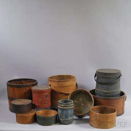 Ten Wooden Pantry Boxes and Measures, and a Covered Firkin.     Estimate $300-500