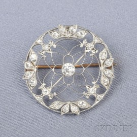 Edwardian Platinum and Diamond Circle Pin