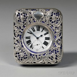 Swiss Open Face .935 Silver Pocket Watch and an English Sterling Silver-mounted   Watch Hutch