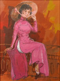 Le Minh (Vietnamese, 20th Century)   Woman in Pink