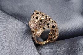 18kt Gold, Colored Diamond, and Onyx Panther Ring