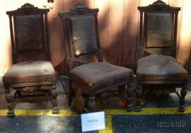 Set of Six Victorian Northwind Leather Upholstered Carved and Turned Oak Side Chairs.