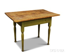 Country Green-painted Tavern Table