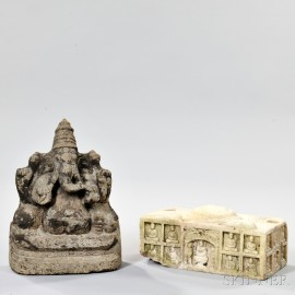 Carved Stone Sculpture of Ganesh and a Buddhist Stele Base