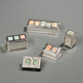 Five English Sterling Silver Stamp Boxes