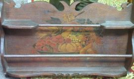 Pyrography Decorated Wooden Wall Shelf.