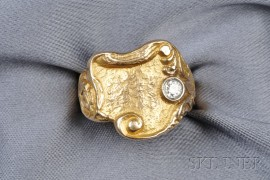 Art Nouveau 14kt Gold and Diamond Ring