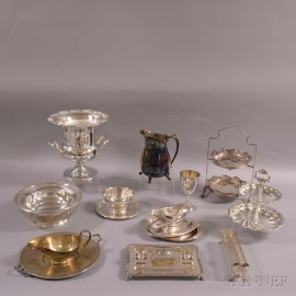 Approximately Twelve Pieces of Silver-plated Tableware