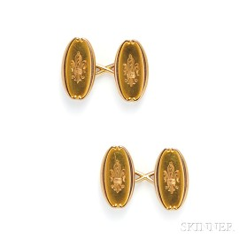 Antique 18kt Gold Cuff Links, Tiffany & Co.