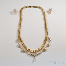 14kt Gold and Diamond Necklace and Earrings