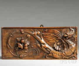 Carved Wooden Architectural Panel of a Griffin