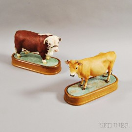 Two Royal Worcester Doris Lindner Porcelain Cows