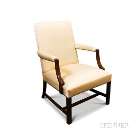 Federal-style Upholstered Mahogany Lolling Chair