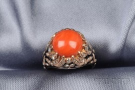 14kt Gold, Coral, Enamel, and Diamond Ring