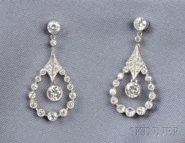 Platinum and Diamond Earpendants