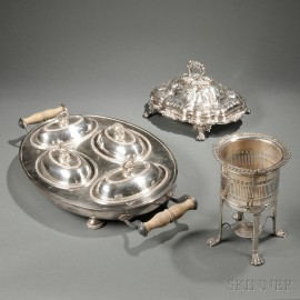 Three Pieces of English Silver-plated Hollowware