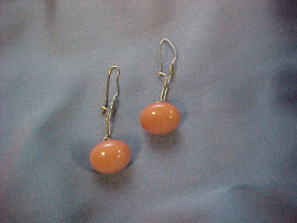 14kt Gold and Coral Button Earpendants