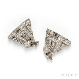 Pair of Platinum and Diamond Dress Clips/Brooch, Cartier
