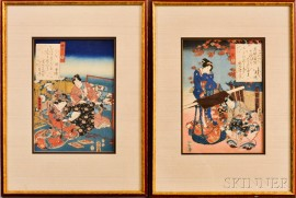 Two Toyokuni III (1786-1865) Woodblock Prints