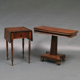 Federal Cherry One-drawer Worktable and a William IV Mahogany Game Table