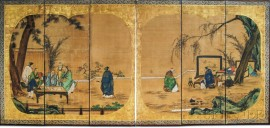 Three Multi-panel Painted Screens and a Carved Panel