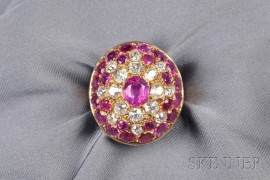 14kt Gold, Ruby, and Diamond Dome Ring