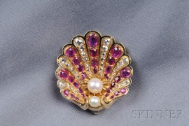 Antique Ruby and Diamond Shell Brooch