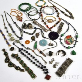 Group of Asian and Middle Eastern Hardstone Jewelry