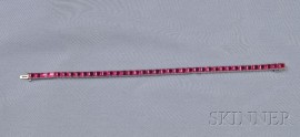 Platinum and Synthetic Ruby Line Bracelet, M. Waslikoff & Sons.