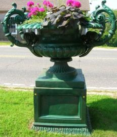 Large Green Painted Two-part Cast Iron Four-handled Garden Urn on Pedestal Base