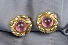 18kt Gold, Pink Tourmaline, and Diamond Earclips