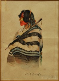 Ned Jacob (Colorado/Tennessee, b. 1938)       Portrait of a Native American.