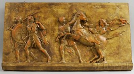High Relief Plaster Panel of a Classical Scene