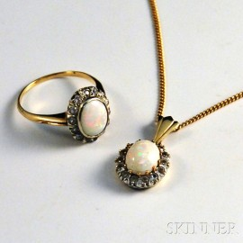14kt Gold and Opal Pendant and Ring
