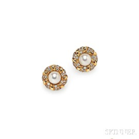 18kt Gold, Cultured Pearl, and Diamond Earclips, Chanel