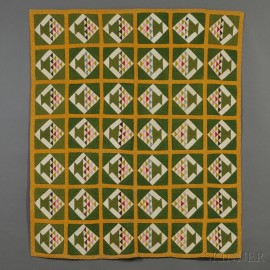 Pieced Cotton Basket Pattern Quilt