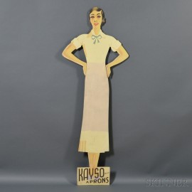 """Painted Figural """"KAYSO APRONS"""" Stand-up Advertising Sign"""