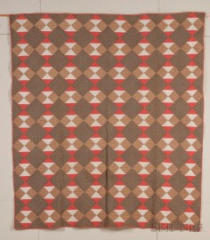 Pieced Printed Cotton Hourglass Pattern Quilt