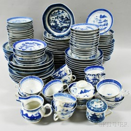Approximately 116 Canton Blue and White Porcelain Plates, Soups, Teacups, and Saucers.     Estimate $600-800