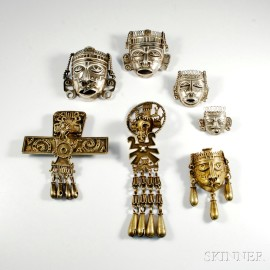 Group of Aztec-style Mexican Jewelry