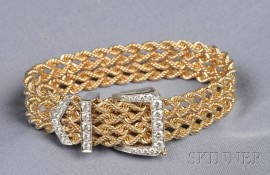 14kt Gold and Diamond Buckle Bracelet