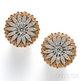 18kt Bicolor Gold and Diamond Earrings