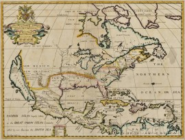 North America. Edward Wells (1667-1727) A New Map of North America Shewing its Principal Divisions, Chief Cities, Townes, Rivers, Mount