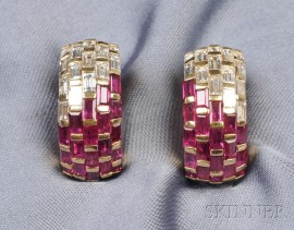 18kt Gold, Ruby and Diamond Earrings