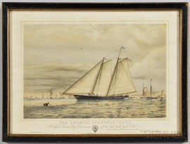 """The """"America,"""" Schooner Yacht   Lithograph"""