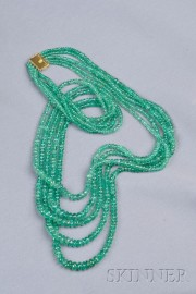 Multi-strand 18kt Gold and Emerald Bead Necklace
