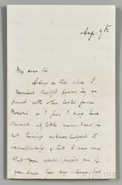 Tennyson, Alfred Lord (1809-1892) Autograph Letter Signed, 9 August [1852].