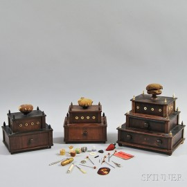 Three Mahogany Veneer Tiered Sewing Boxes