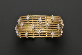 18kt Bicolor Gold and Diamond Multi-strand Bracelet, Morelli